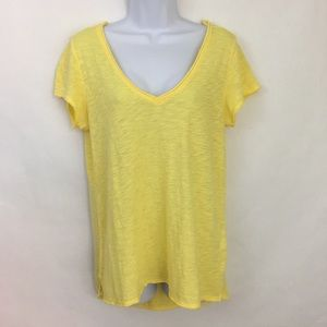 Anthropologie t. la Yellow V-Neck T-Shirt EUC